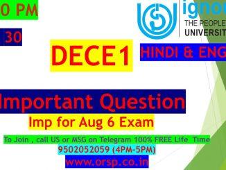 | Important Questions | DECE 1 | ENG & HIN | IGNOU | ORSP |