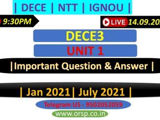   IGNOU ONLINE CLASS   DECE3 Unit 1 Solution   ORSP  