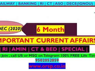 | Last 6 Month Current Affair | July - Dec 2020 | ORSP |