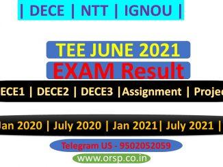   IGNOU RESULT   TEE JUNE 2021   DECE   IGNOU   ORSP  