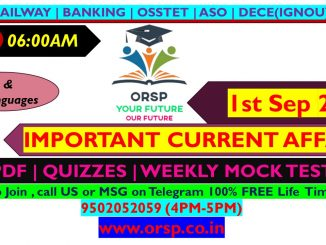 | Important Current Affairs |1 Sep 2021 | ORSP