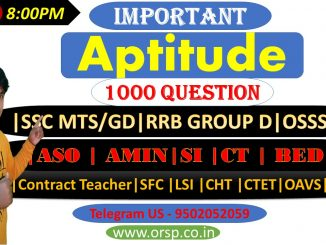   Selected Aptitude 1000 Question  SSC MTS/GD RRB GROUP D  ASO   AMIN SI   CT   BED CTET OAVS 