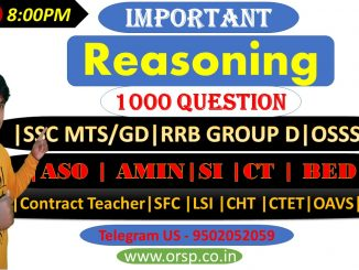 Selected Reasoning 1000 Question  SSC MTS/GD RRB GROUP D  ASO   AMIN SI   CT   BED CTET OAVS 